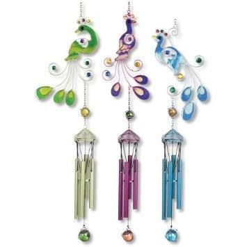 Peacock Wind Chimes, Assorted $21.99 Allthingspeacock.com   Peacock Garden  Decor