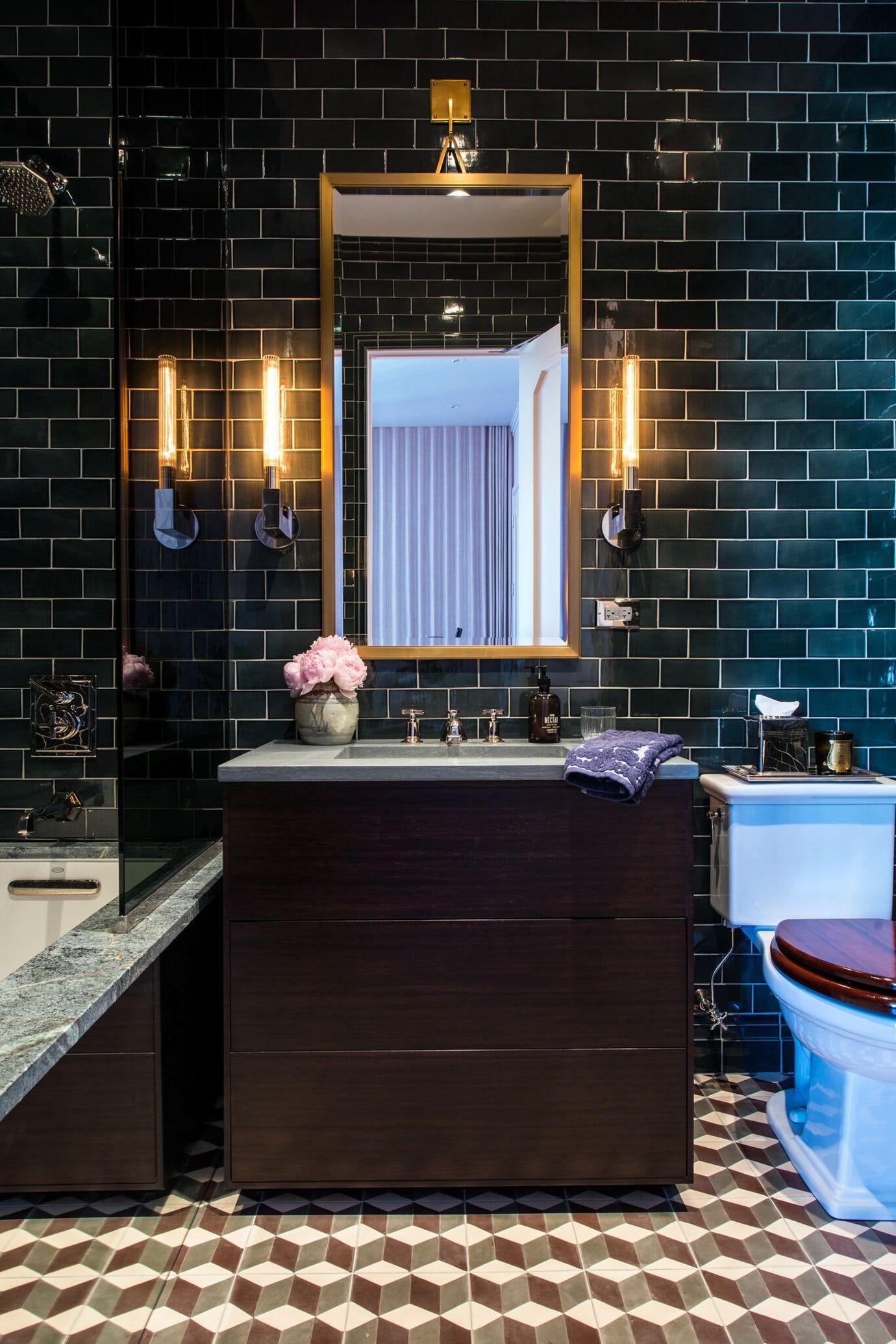 Guest Bathroom With Teal Subway Tile Pattern Cement Floors Modern Sconces Bath Eclectic By Studio Cak Interior Design Portfolios Modern Sconces Interior