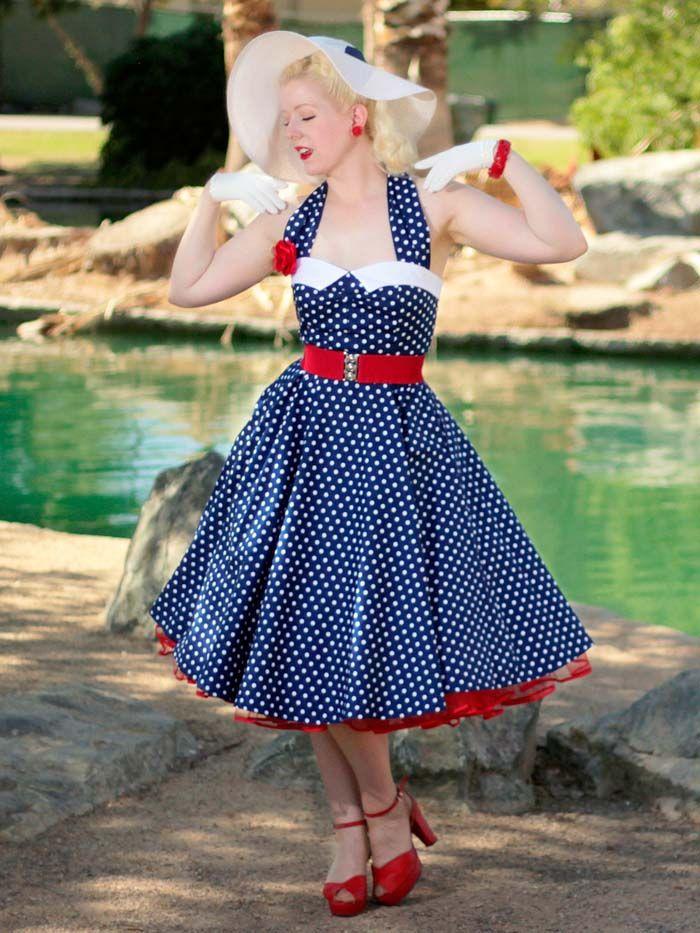 db2e47f0e79 Vintage Inspired 1950s Style Navy White Polka Dot Halter Dress   nauticalstyledress  50sStyleDresses  PolkaDotDress