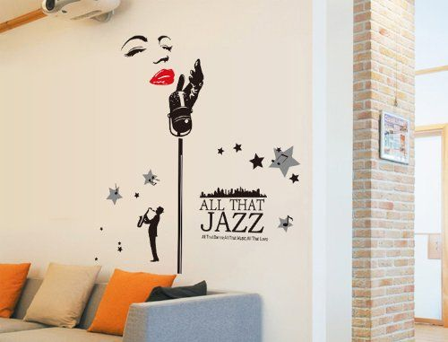 wall sticker outlet -Magic Decals All That Jazz Quote Woman with Microphone Wall Decal Home Sticker Decor
