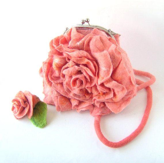 Felted handbag flower Orange coral rose flower by galafilc on Etsy, $85.00