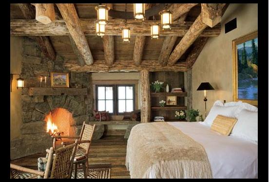 Sleeping under the huge log beams of this rustic and cozy log home, Bozeman, Montana