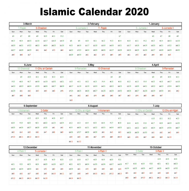 Printable Islamic 2020 Calendar Hijri Calendar 1441 Islamic Calendar Hijri Calendar Calendar 2020