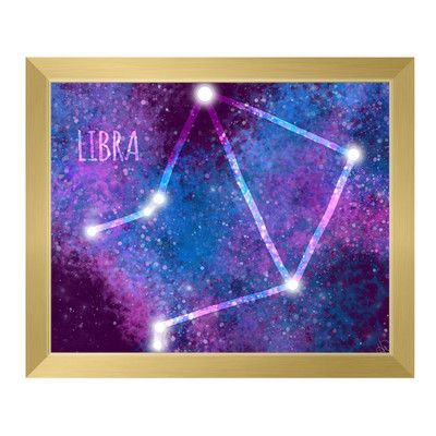 "Click Wall Art 'Galaxy Libra' Framed Graphic Art Frame Color: Gold, Size: 22.5"" H x 26.5"" W x 1"" D"