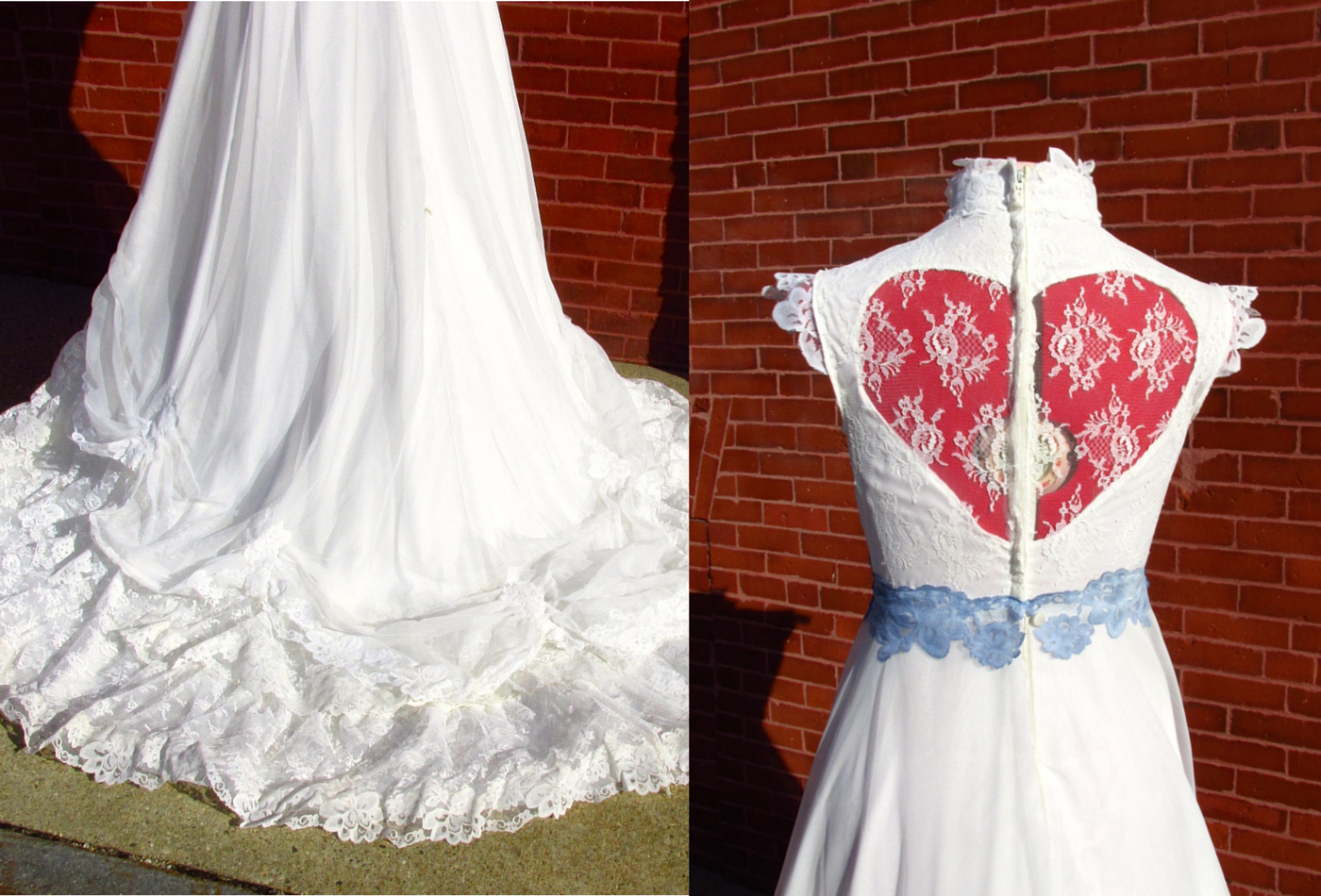 Cheryl vintage offwhite s lace cap sleeve weddinggown