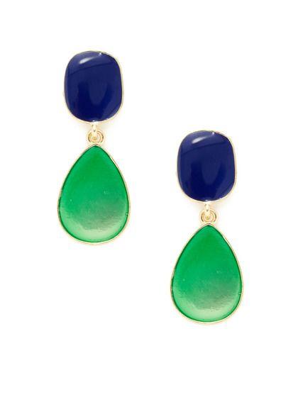 Blue & Green Double Drop Earrings