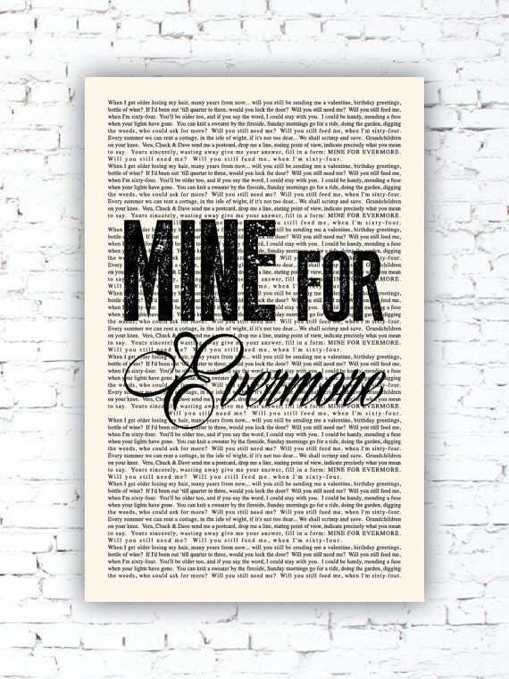 When I M 64 Book Page The Beatles Lyrics Poster Typographic Poster Print Musician Wall Art Gift Into The Mystic Lyrics Van Morrison Lyrics Beatles Lyrics