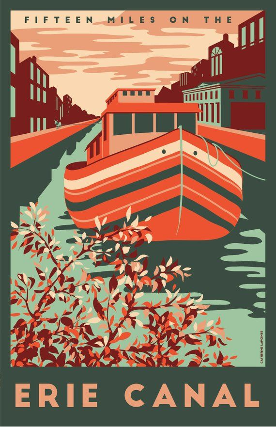 erie canal vintage travel poster central new york finger lakes syracuse and rochester art print