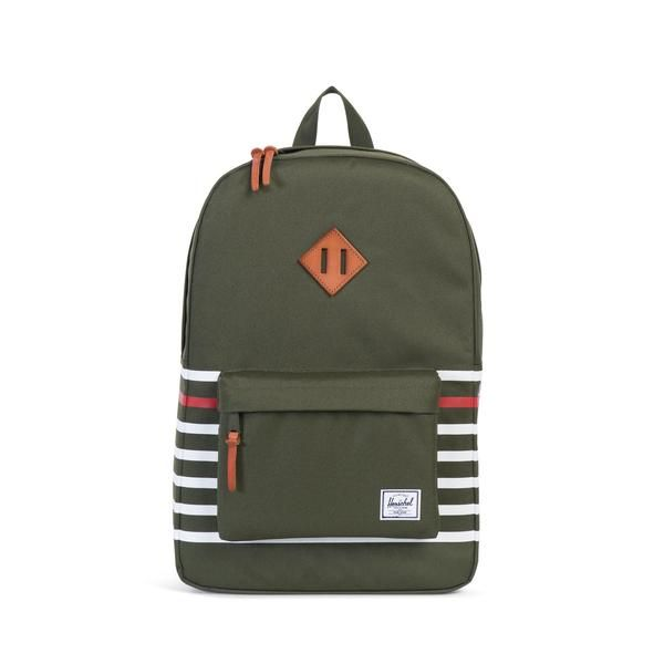 The classic Offset Herschel Heritage™ backpack features a functional design with screen printed contrast stripes and a distinctive vegetable tanned leather diam