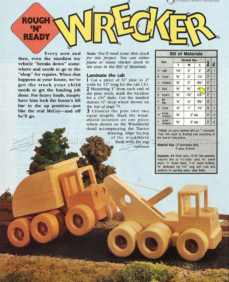 1796 wooden wrecker plan - wooden toy plans | wooden toys