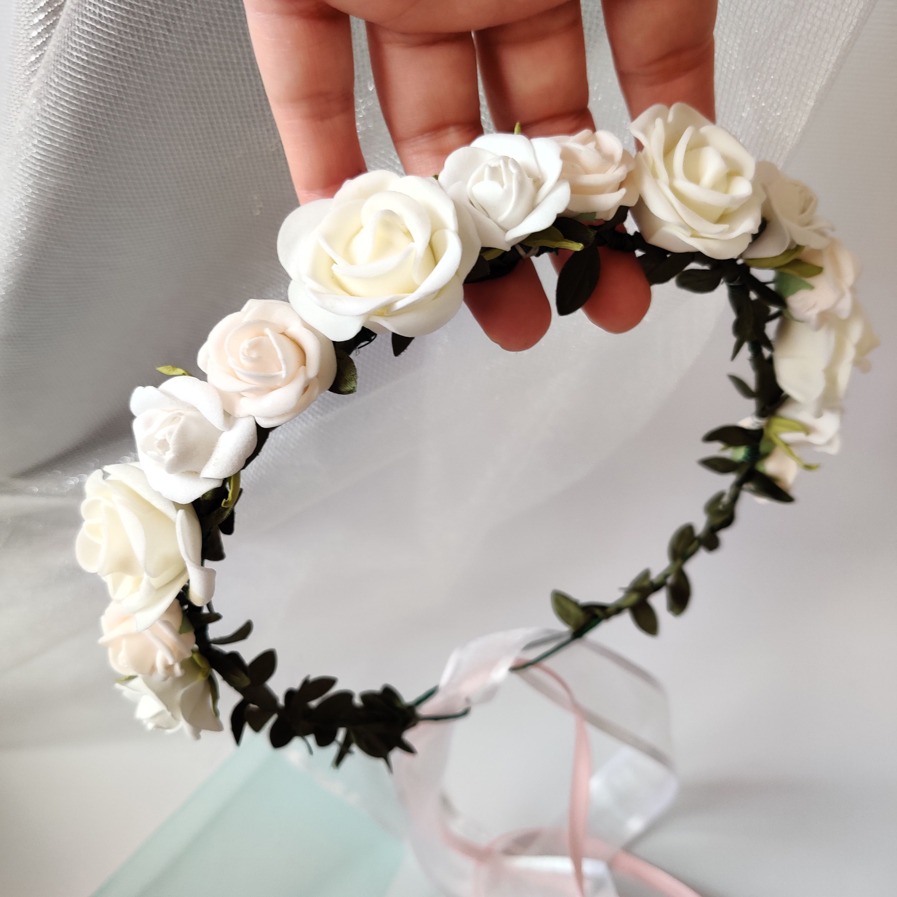 rose gold crown white hairpiece girl jeweled hairpiece rose flower girl flower crown girl White crown flower girl vintage flwoer girl