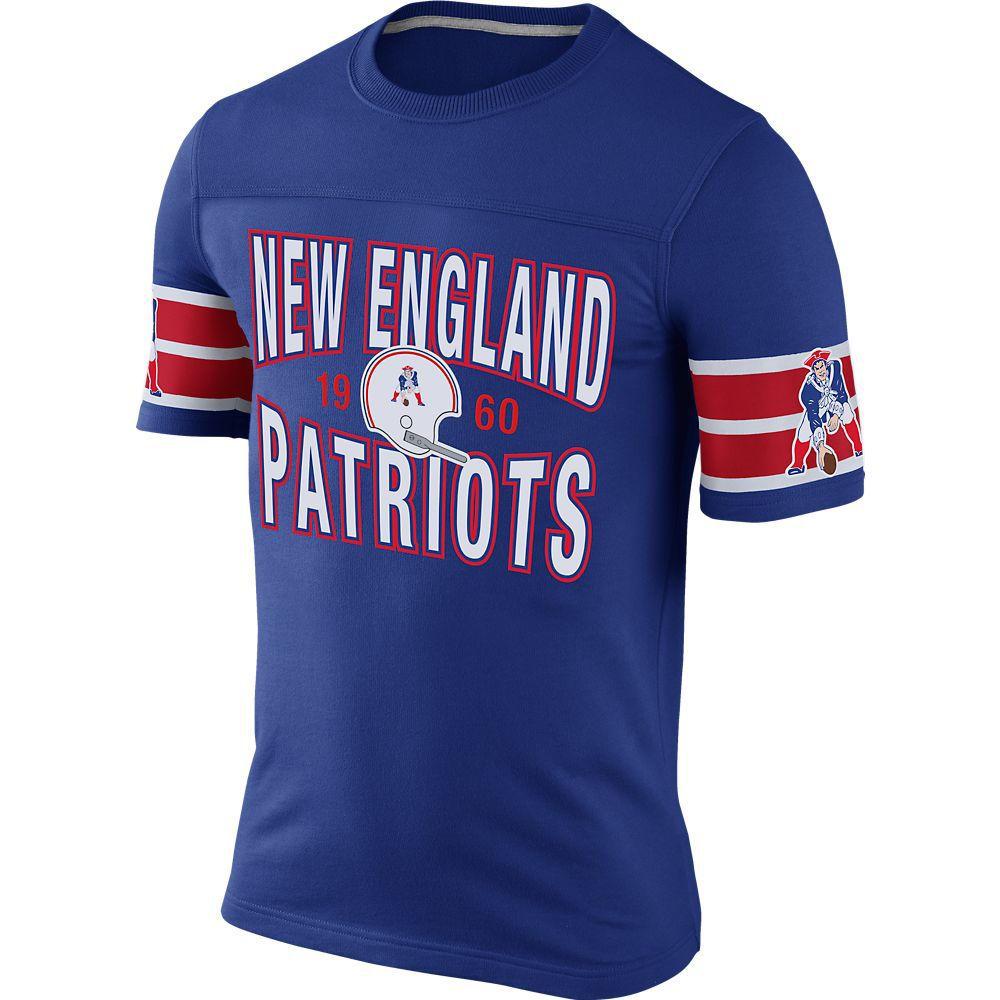 New england patriots nike rewind football tshirt royal