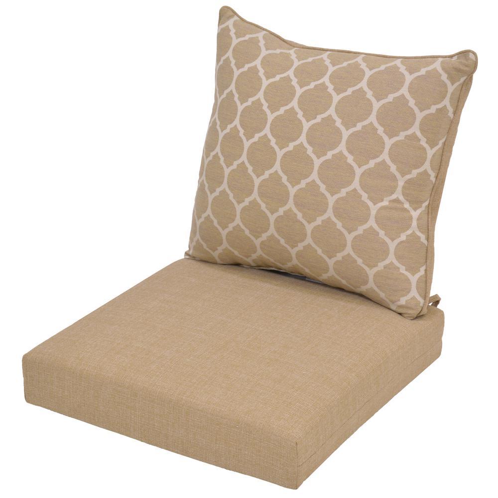 Hampton Bay Toffee Trellis Reversible Deep Seating Outdoor Lounge Chair Cushion Outdoor Lounge Chair Cushions Lounge Chair Cushions Patio Furniture Cushions