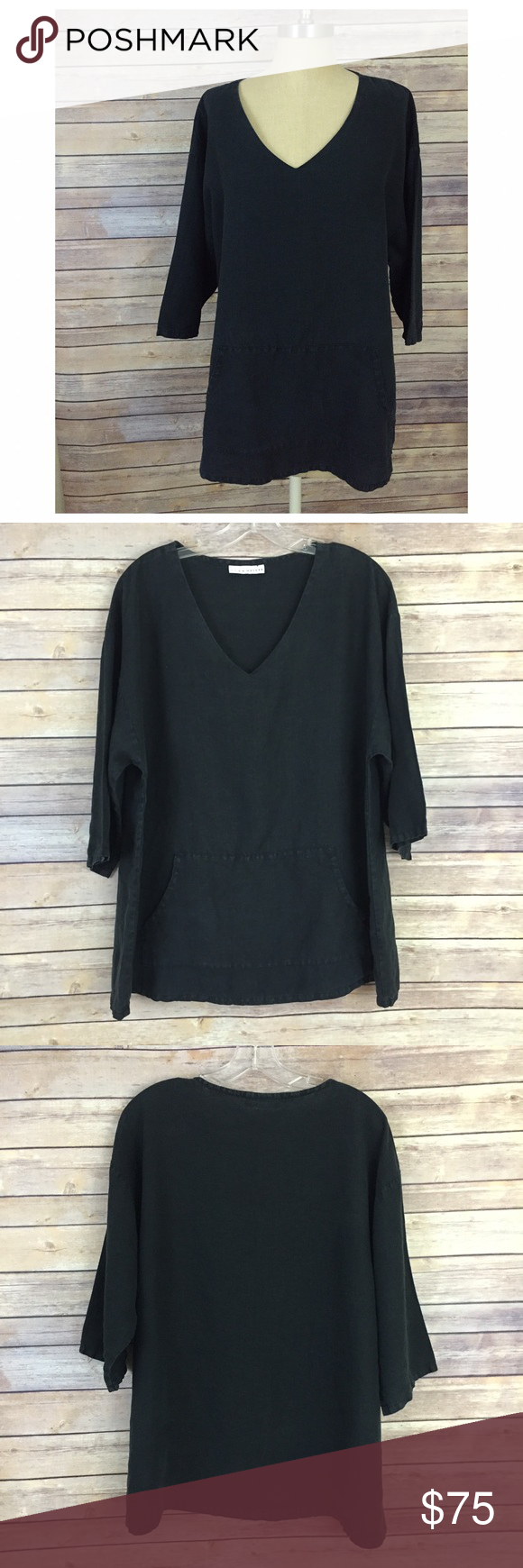 a9c61b672b5 BRYN WALKER Washed Black Linen Tunic This gorgeous oversized tunic is  FABULOUS! I m