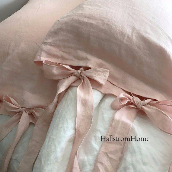 Pink Linen Pillowcase Bow Tie Pillow
