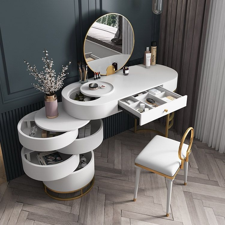 White Makeup Vanity Dressing Table With Swivel Cabient Mirror Stool Included Dressing Room Design Home Room Design Modern Dressing Table Designs