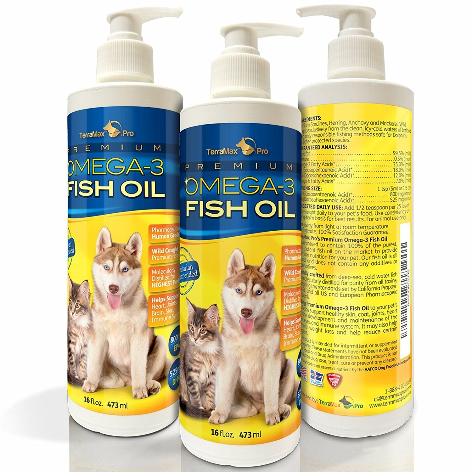Premium Liquid Omega3 Fish Oil for Dogs and Cats All