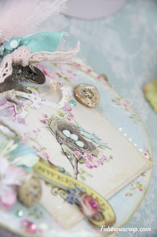 """Pour tes beaux yeux...le Scrap de Fabinou: Boîte ronde Tilda """"jardin de Pâques"""" et son mini -album oeuf...et tutoriel!"""