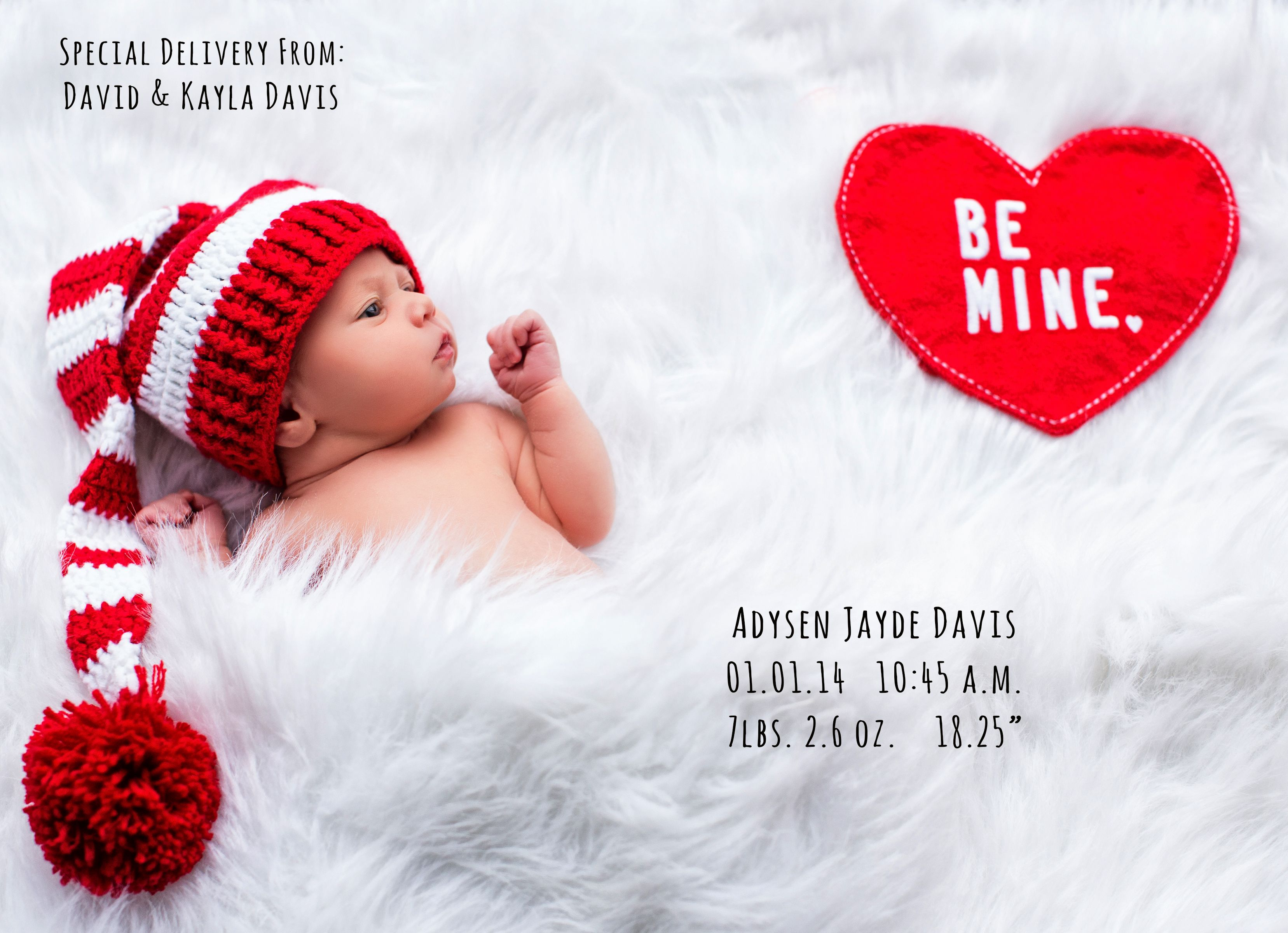 valentine birth announcement, creative birth announcement, newborn photography, Suzanne Deaton Photography