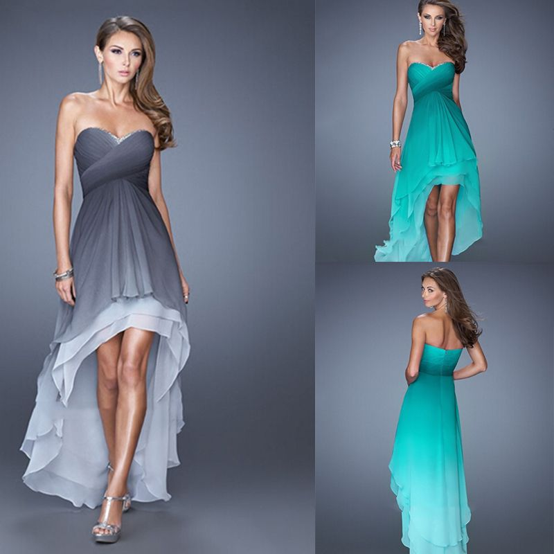 21588054fd54 LIR087 Stunning Sweetheart Criss Cross Ruching Bodice Tiered High Low Skirt  Ombre Dyed Chiffon Prom Dress
