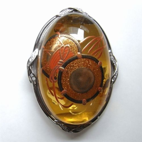 Japanese Brooch Amber Jewelry Maki-e Makie Japan Drum Kyoto #H1 for Gift US $5,780.00