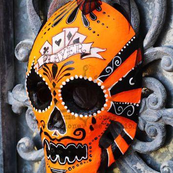 Player Dia De Los Muertos Mask - Orange Neon Sugar Skull Mask - Hand Painted Sugar Skull Mask - Mexican Folk Art - Halloween Mask