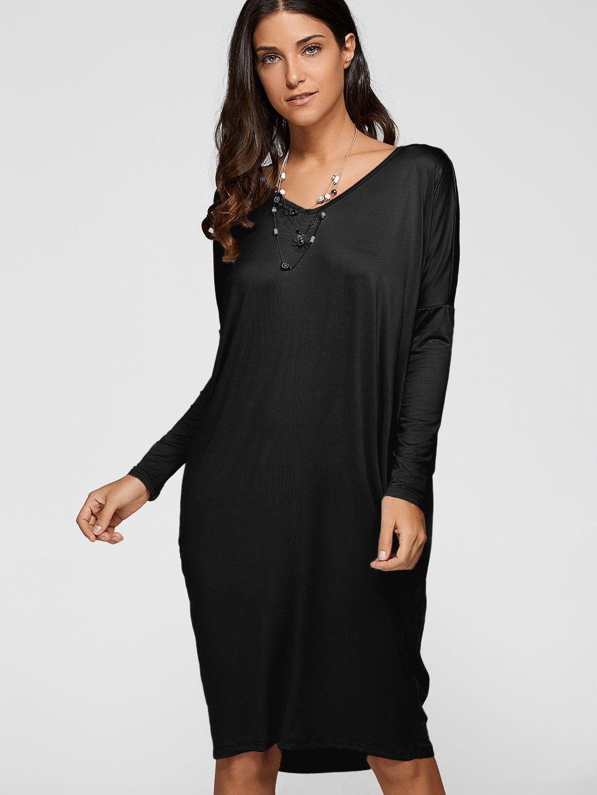 Loose asymmetric v neck dress my styled ones i wish i could