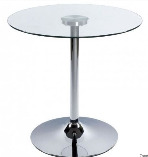 Great Swan Dining Table Clear Glass Bistro Kitchen Table 70cm Small Round Glass  Topu2026