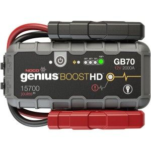 The NOCO Genius Boost HD GB70 2000 Amp 12V UltraSafe Lithium Jump Starter is a compact, yet powerful lithium-ion jump starter for 12-volt batteries. With it, you can safely jump start a dead battery in seconds – as much as 40 times on a single charge. It's mistake-proof, making it safe for anyone to use and includes spark-proof technology, in addition to reverse polarity protection.