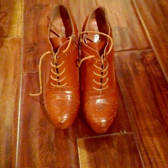 Shoes Brown booties super cute never worn Charlotte Russe Shoes