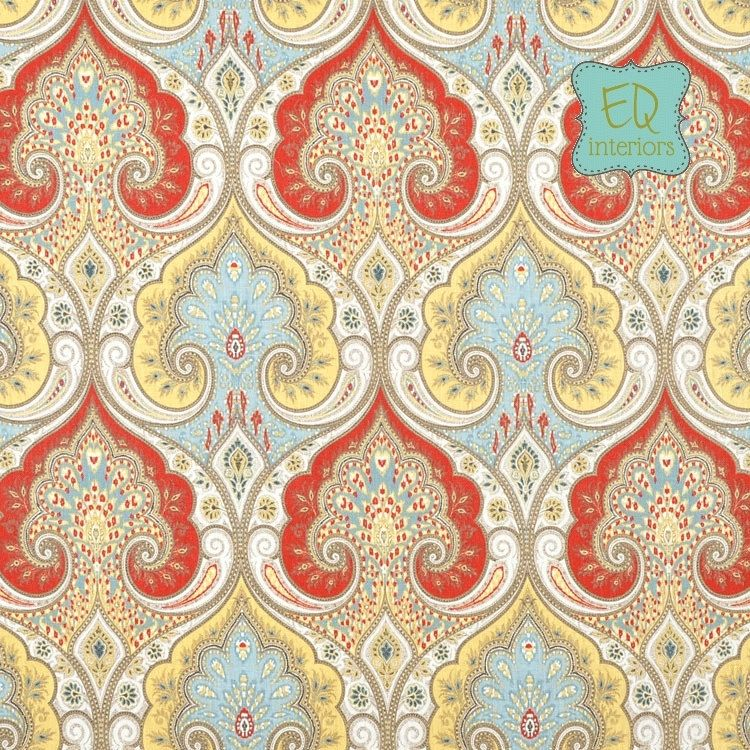 Curtain Panels: Kravet Latika Paisley In Festival Red Blue Yellow Tan Linen  Curtains 84l X
