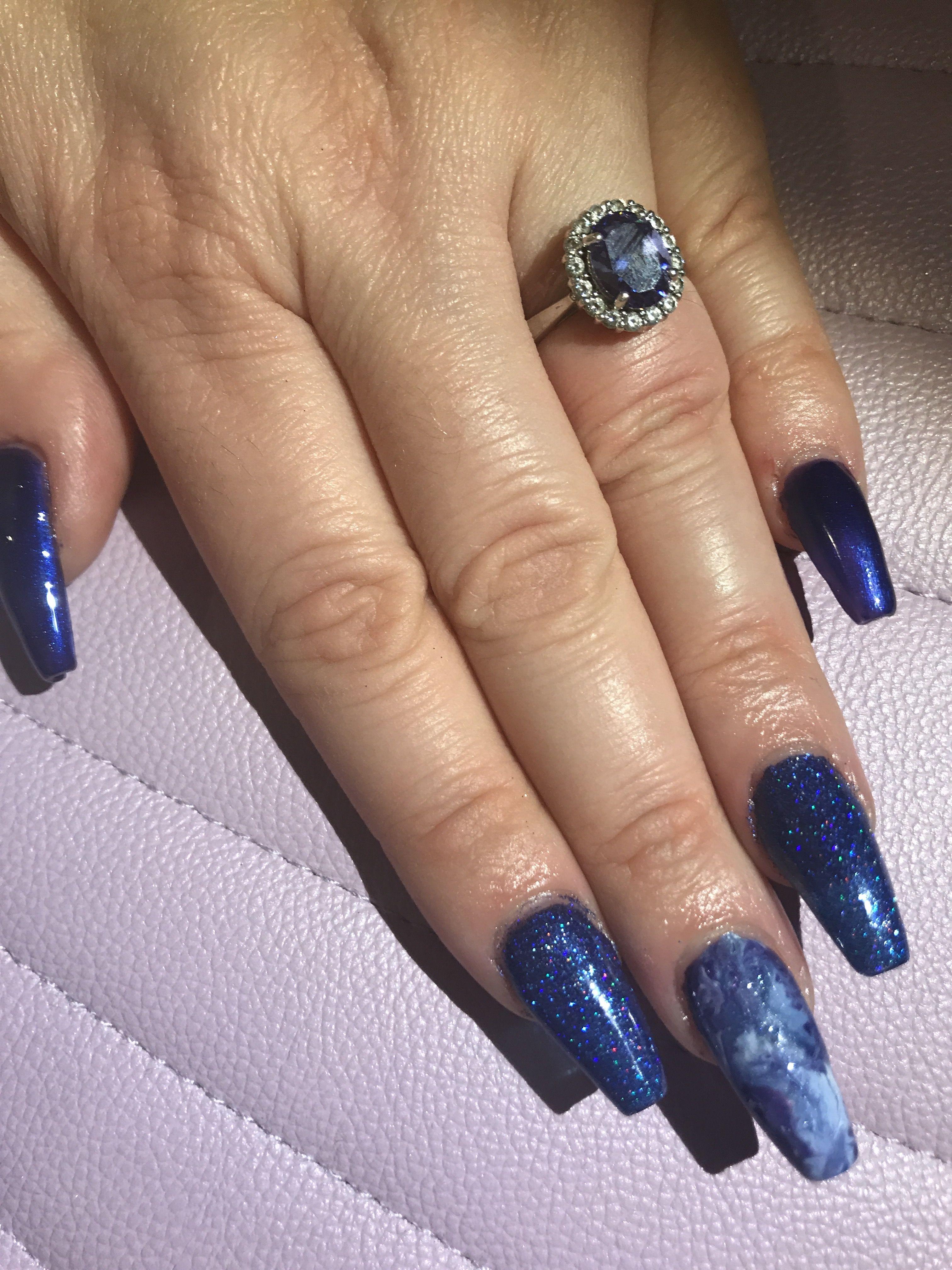 Blue Glitter Nails - Nails   Pinterest