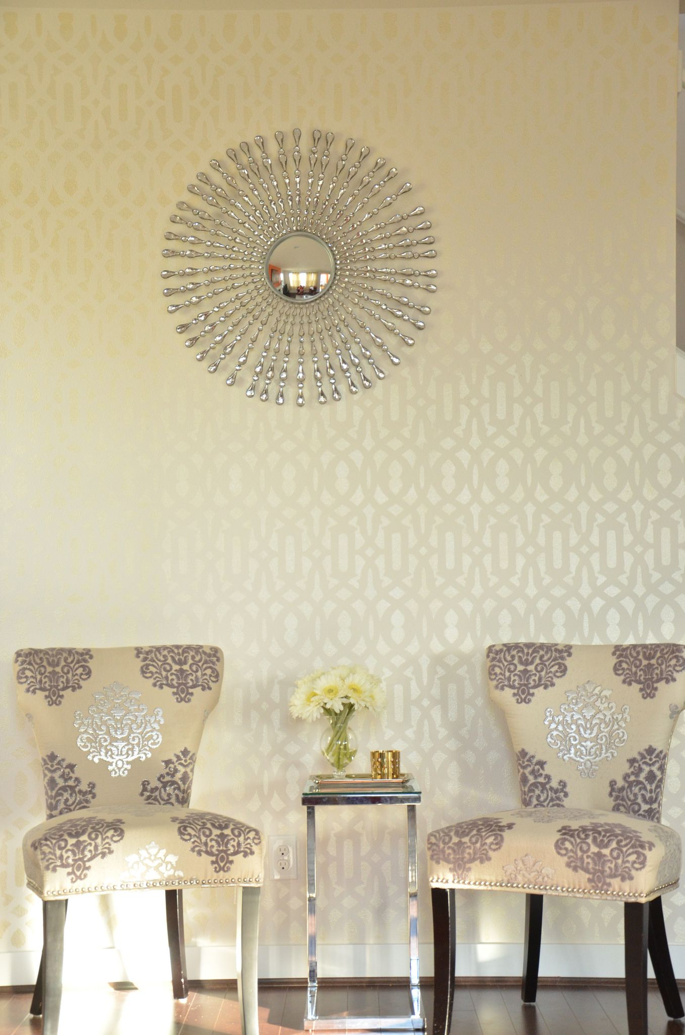 A diy stenciled accent wall using the trellis allover stencil in a diy stenciled accent wall using the trellis allover stencil in ralph lauren metallic gold amipublicfo Choice Image