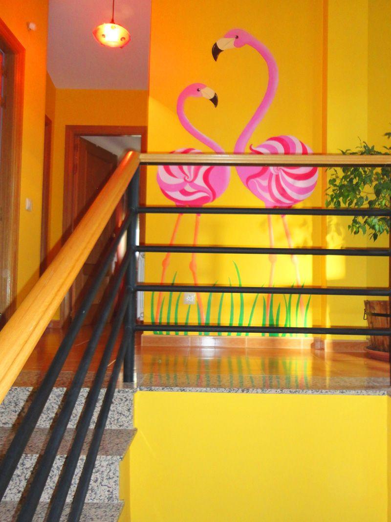 Mural pintado de flamencos pared murales y fotomurales decorativos ideas - Pintar mural en pared ...