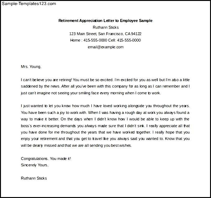 Retirement Appreciation Letter Employee Sample Free Download Plus