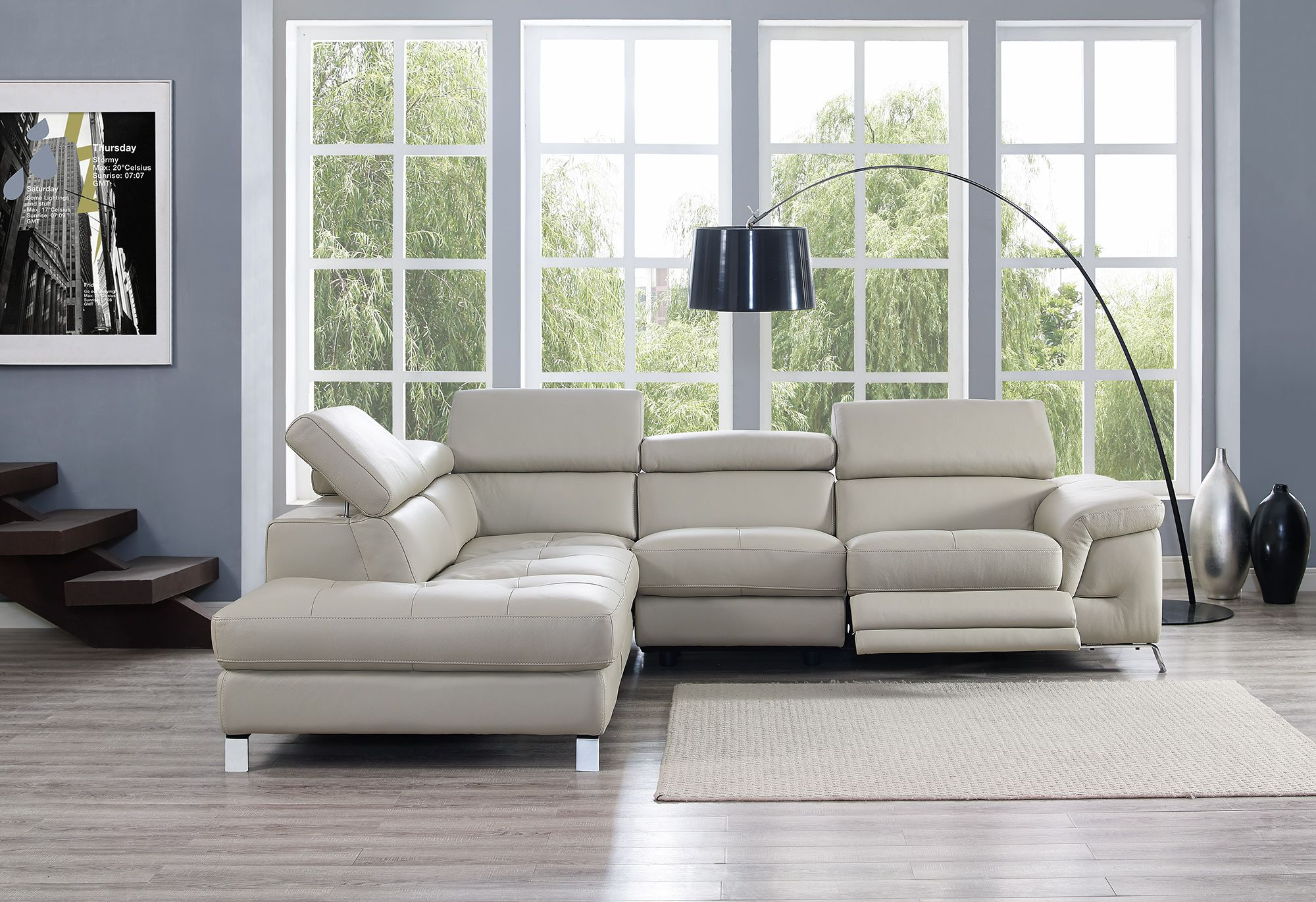 Elegant Furniture Italian Leather Upholstery Reclining Sectional