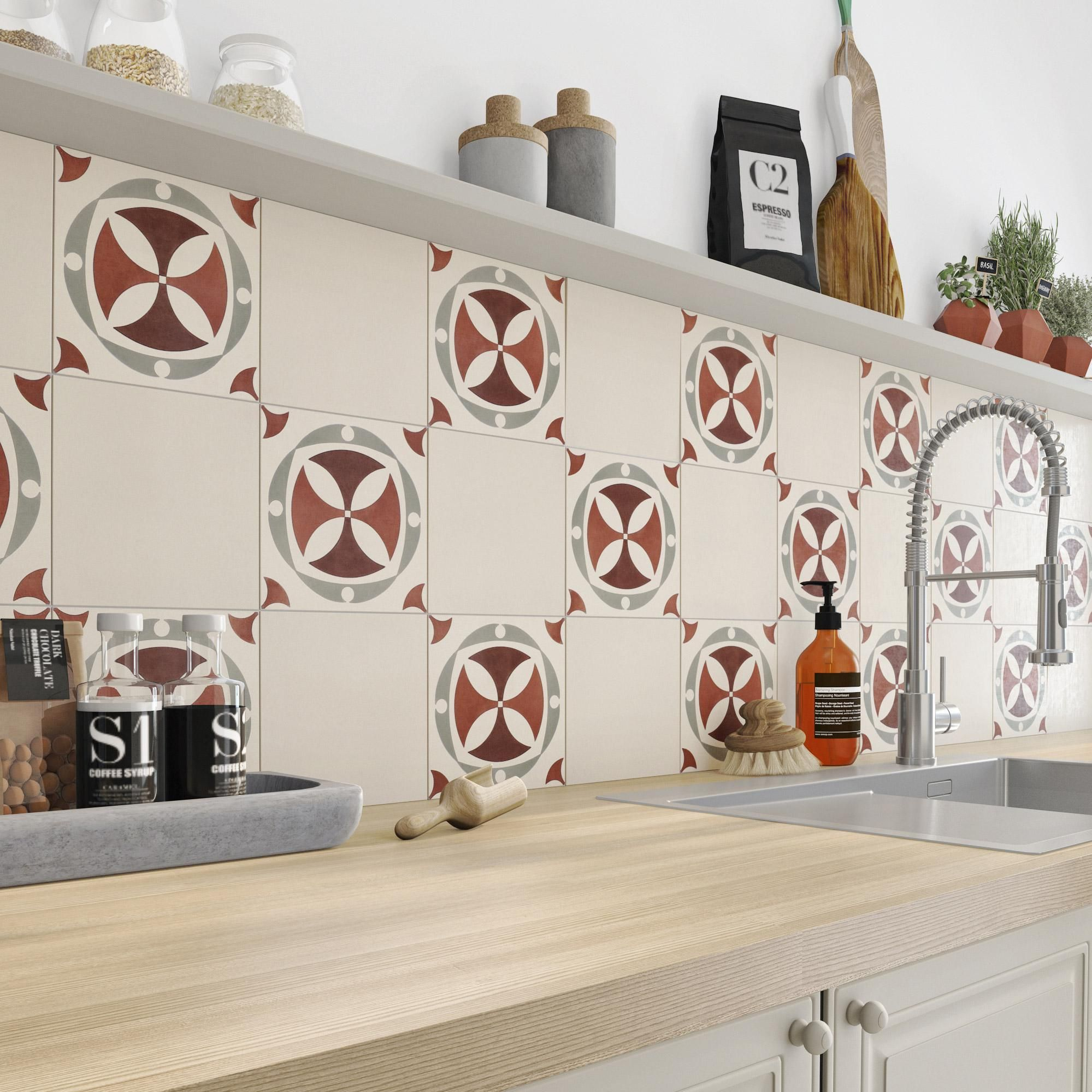 Carreau De Ciment Mur Beige Mat L 20 X L 20 Cm Belle Epoque No Name En 2020 Carrelage Mural Cuisine Decoration Maison Et Credence Carreau De Ciment