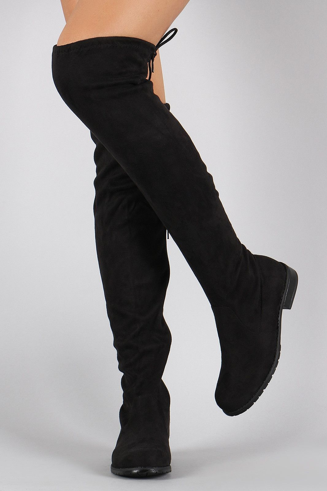28da788cab1 Bamboo Faux Suede Tied Flat Thigh High Boot