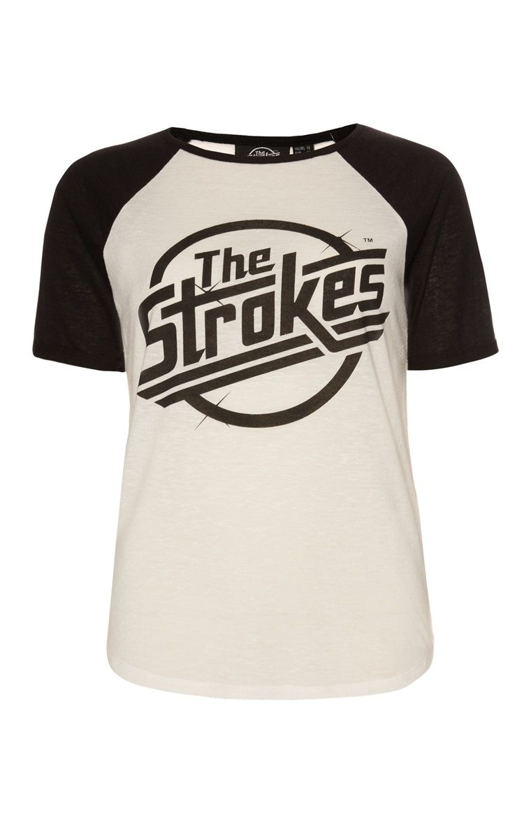 6cceea6c Primark - White The Strokes Raglan T-Shirt   Wishlist