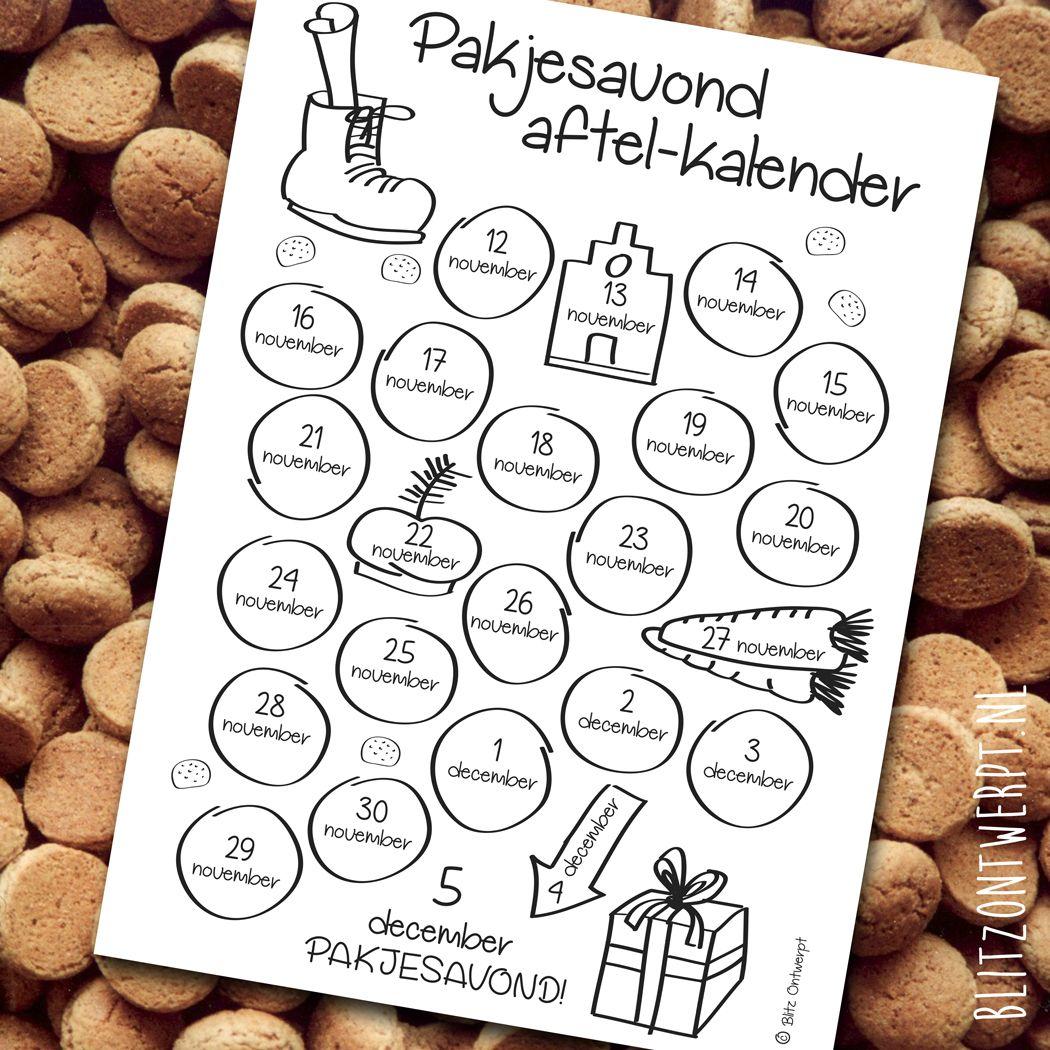 free printable aftel kalender pakjesavond aftelkalender