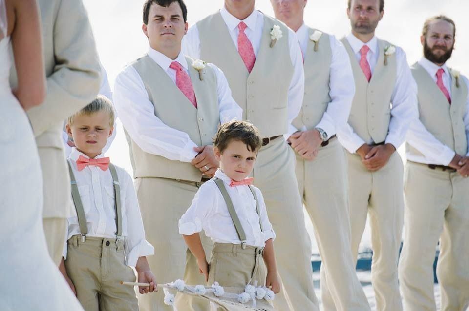 Coral and khaki linen groomsmen vests and ties Carillon Beach, FL ...