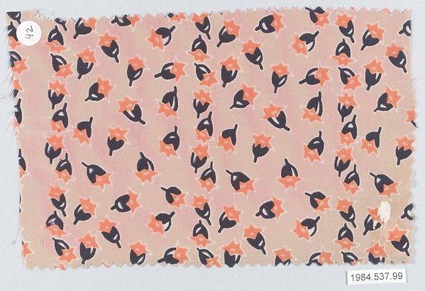 Textile sample  Designer:Josef Hoffmann (Austrian, Pirnitz 1870–1956 Vienna) Manufacturer:Wiener Werkstätte Date:ca. 1920 Medium:Silk Dimensions:5 1/4 × 8 1/8 in. (13.3 × 20.6 cm) Classification:Textiles-Painted and Printed
