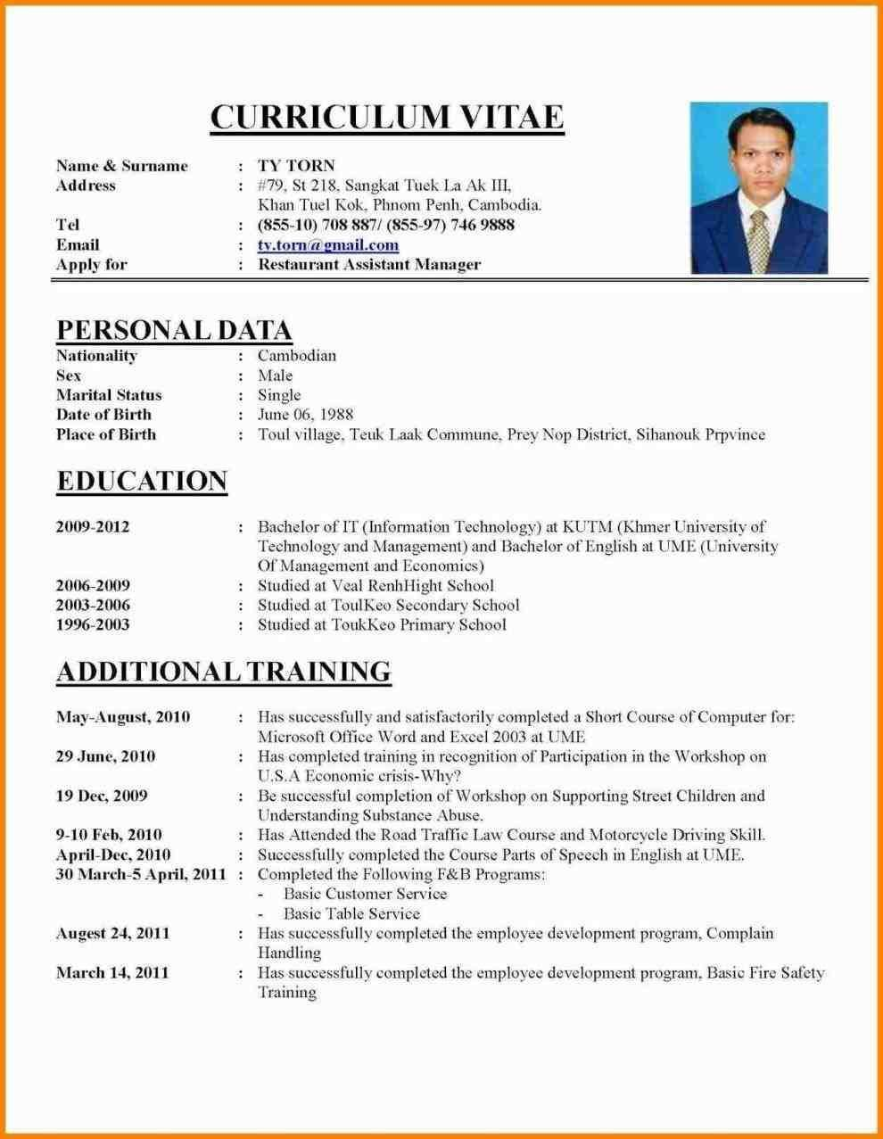 Cv Template Job Application Cv Resume Sample How To Make Resume