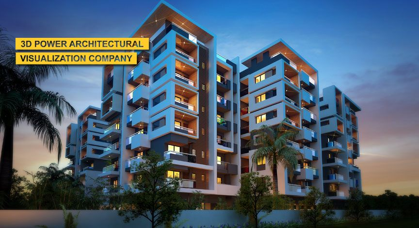 Residential Apartment Exterior Elevation Day U0026 Night Rendering By Power,  2013   Threed Power Visualisation Rahul