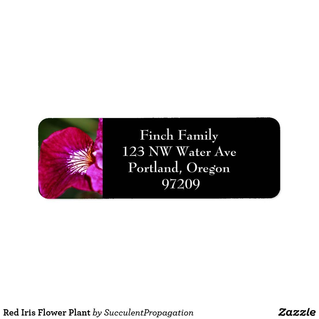 Red Iris Flower Plant Label Return Address