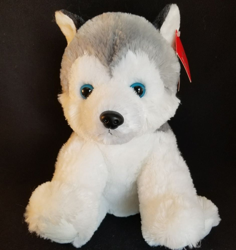 Aurora Husky Dog Plush Stuffed Animal 11 Tall Soft Toy Gray White