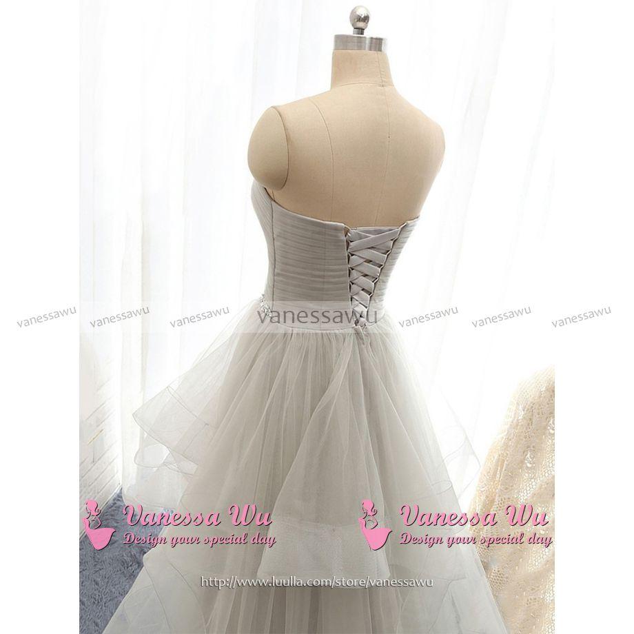 944e150b77d Light Gray Sweetheart Ruched Bust Prom Dress