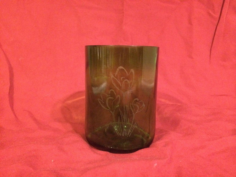 Tulip Wine Bottle Glasses By Greenvineglassworks On Etsy Wine Bottle Design Wine Bottle Glasses Wine Bottle