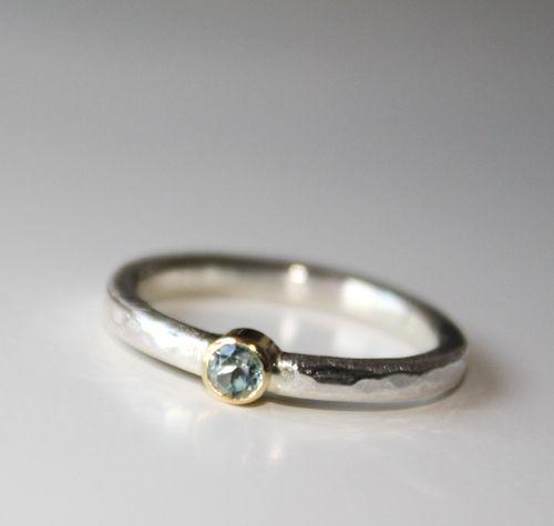 Verlobungsringe R I N G Gold Silber Topas Blau Ein