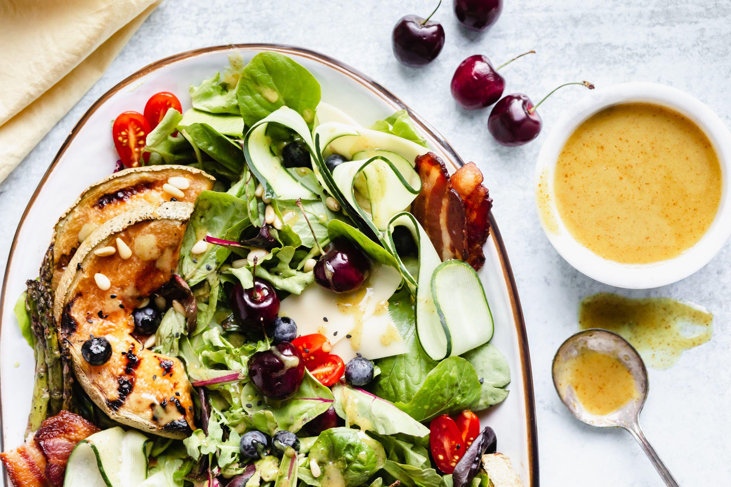 Grilled Summer Salad With Honey Dijon Champagne Vinaigrette Rosalynn Daniels Recipe Summer Salads Honey Mustard Salad Dressing Champagne Vinaigrette [ 1707 x 2560 Pixel ]